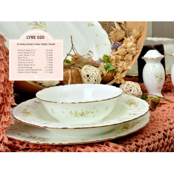 LYRE020 74 PRÇ.SPRING BEAUTY BONE CHINA YEMEK TAKIMI